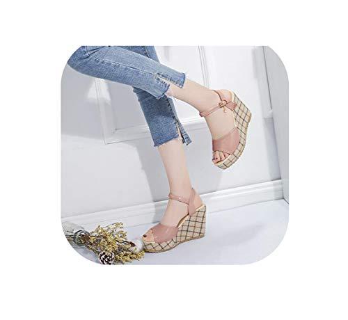 Coach Leder-reiniger (Damen Sandalen PU Leder Keile Schuhe Frauen Slides Peep Toe Gingham Solid Lady Casual Shoes, Pink - Rose - Größe: 38 EU)