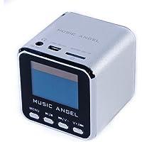 BlueBD Music Angel - Mini altavoz estéreo portátil (con radio, ranura para micro tarjeta, despertador, ranura USB, SD)