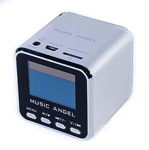 BLUEBD@ MUSIC ANGEL (Original) - Silber-tragbarer mini Stereo Lautsprecher / Boxen / Soundstation / Lautsprechersystem mit eingebautem Radio, Wecker, Uhr, USB-Slot, Micro-SD Kartenslot