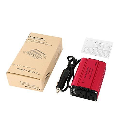 400w Auto Power Inverter (LESHP Compact 400W Auto Power Inverter DC 12V bis 110V AC Dual USB-Lade Ports mit Auto-Ladegerät Tragbares Converter (rot))