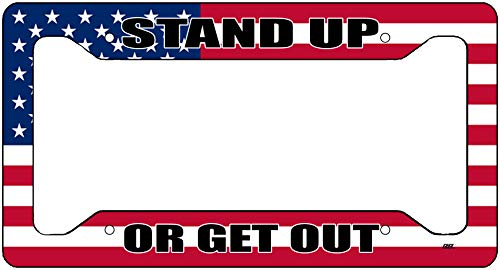 Rogue River Tactical USA Flagge Nummernschild Rahmen Militär Veteran Tag Vanity Geschenk American Patriotic US Stand up or Get Out -