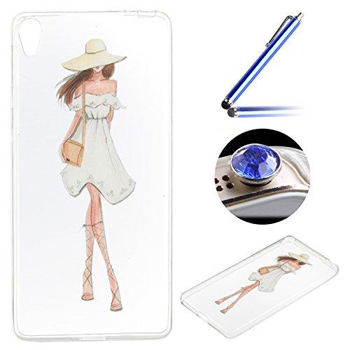 Coque [ Sony Xperia E5 ],Etsue TPU Gel Doux Coque Housse étui pour Sony Xperia E5,Etui de Protection Cas Ultra-Mince Transparent Bumper Cover pour Sony Xperia E5,Anti-rayures Peint Motif Vogue Case Cover Coque de Téléphone pour Sony Xperia E5 + 1 x Bleu stylet + 1 x Bling poussière plug (couleurs aléatoires) - Frais Fille