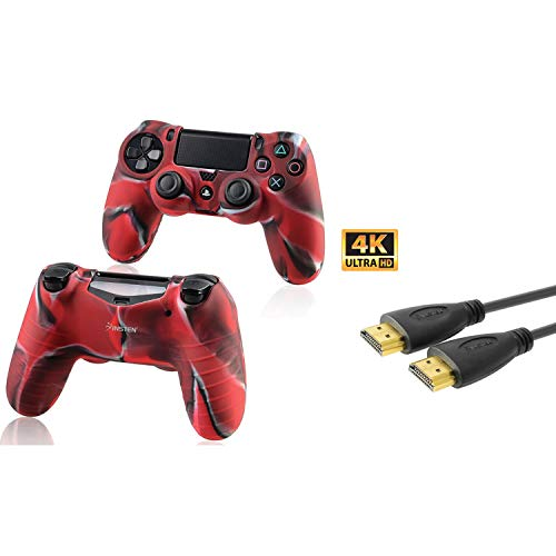 Insten Tarnung Navy Red Silikon Skin mit FREE 15FT / 4.6M Schwarz High Speed ??HDMI-Kabel M / M kompatibel mit Sony PlayStation 4 (PS4) Regler