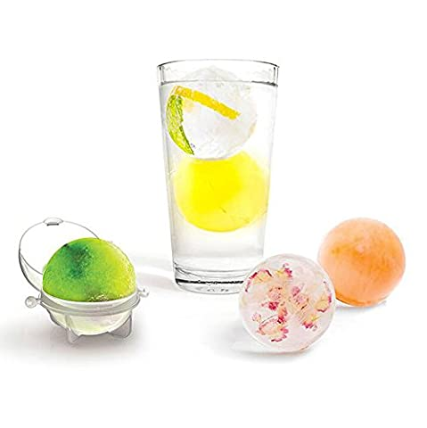 HuaYang Mini Round Ice Ball Molds Sphere Cube Whiskey Cocktails Infuse Tray 4Pcs