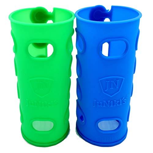 Grüner-tee-flasche (JuNiki´s Double Neck - ideale Flaschenhülle für Kinder - Silikonhülle - für Glasflaschen, Tee Flaschen, Trinkflaschen, Edelstahlflaschen 2er Set blau und grün)