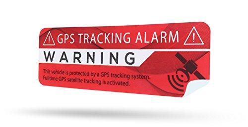 LM Intertrade GmbH GPS Alarm Aufkleber Auto - Warnaufkleber in Premium Qualität - 75 mm x 25 mm - Sticker für 1 Pkw - Innenklebend (Rot Modern, 2)