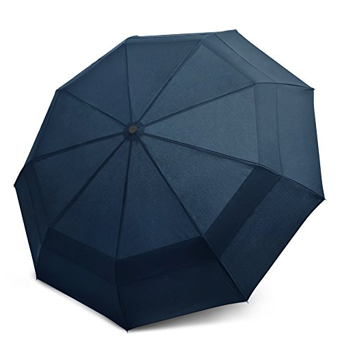 EEZ-Y Compact Travel Umbrella w/ Windproof Double Canopy Construction - Auto Open Close Button for One Handed Operation - Sturdy Portable and Lightweight for Easy Carry