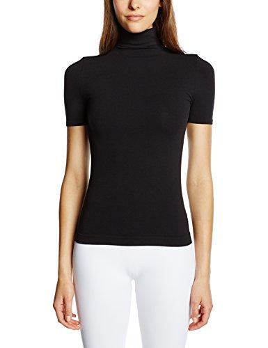 Luigi di Focenza Damen T-Shirt 1681, Einfarbig, Gr. 42 (Herstellergröße: L/XL), Schwarz (Schwarz 001) (Kurzarm Rollkragen-shirts)