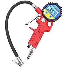 LONGKO Digital eléctrico inflador de neumáticos con manguera y manómetro para compresor de aire Para el automóvil y la motocicleta de alta precisión y Heavy Duty calibrador de presión de neumáticos