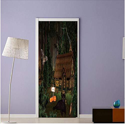 Newberli Jungle Lodge Abnehmbare Tür Aufkleber Selbstklebende Tür Aufkleber Tür Wandbild Für Allerheiligen Dekoration Party Supplies Home -