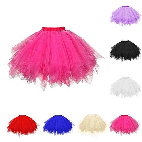KaloryWee Damen hohe Qualität Falten Gaze Tutu Erwachsenen Tutu Rock Faltenröcke (Pink A) (Tweed-faltenrock)
