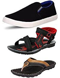 Tempo Men's Combo Pack Of 3 Footwear (SLV BLK BLU LOAFERS, TEMPO BLK SANDALS & GREECE SLIPPERS)