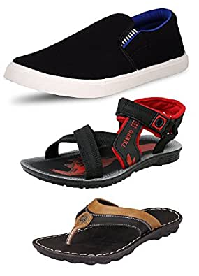 Tempo Men's Combo Pack Of 3 Footwear (SLV BLK BLU LOAFERS, TEMPO BLK SANDALS & GREECE SLIPPERS)-10