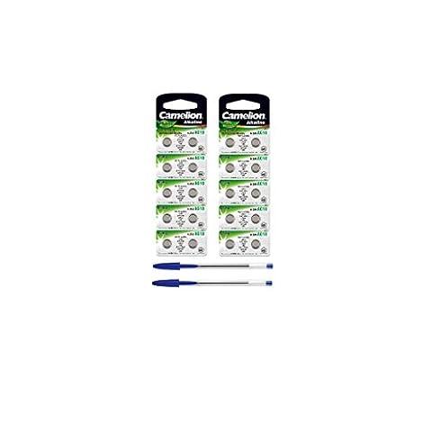 Camelion Lot de 20piles bouton alcalines LR 1130AG101,5V + 2x stylo bille gratuit