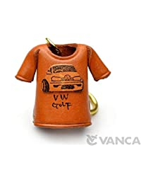 Volkswagen Golf T-shirt Leather KH Keychain VANCA CRAFT-Collectible keyring Made in Japan