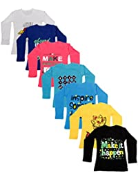 IndiWeaves Girls Cotton Full Sleeves Printed T-Shirt(Pack of 7)