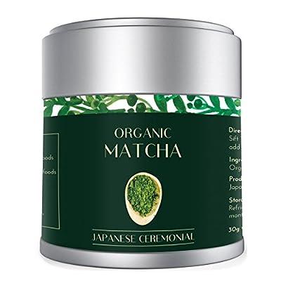 Thé vert Matcha 30g | Cérémonie Biologique Japonaise | JAS et EU Organic | AAA Meilleure qualité de Kyoto Japon | Approuvé par Tea Masters | Meilleur pour la perte de poids Vie saine et végétarienne