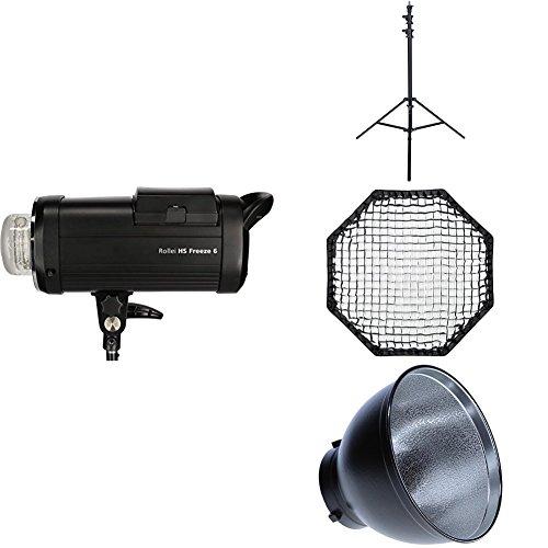 Rollei HS Freeze 6 Single Kit - Professionelles Studioblitz Set mit Akku-Blitz, Lampenstativ, Octabox 90 cm und Reflektor, mit Bowens Anschluss