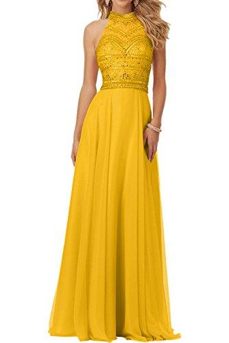 Milano Bride 2017 Neu Herrlich Chiffon Steine Abendkleider Partykleider Abiballkleider A-linie Rock Lang-38-Dunkel Gelb Abendkleid Gelb