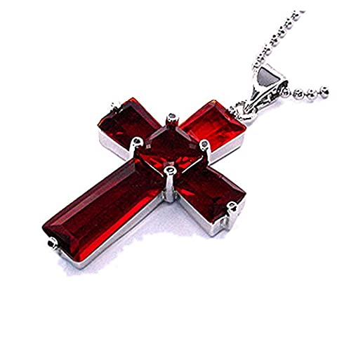 Rizilia Jewellery 18K White Gold Plated Crucifix Cross Jesus Holy Red Ruby Color Gem Stone Slide Pendant Necklace With (Length 48cm/18inch ) Curb Chain [Free Jewelry