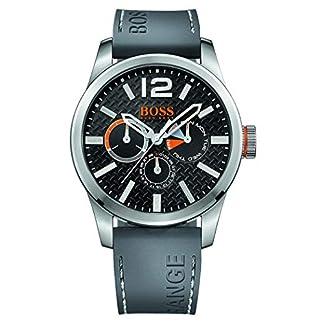Hugo Boss Orange 1513251 – Reloj análogico de cuarzo con correa de silicona para hombre, color gris/negro