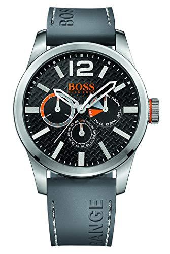 Hugo Boss Orange Paris Herren-Armbanduhr Quartz Analog mit grauem Silikon Armband 1513251