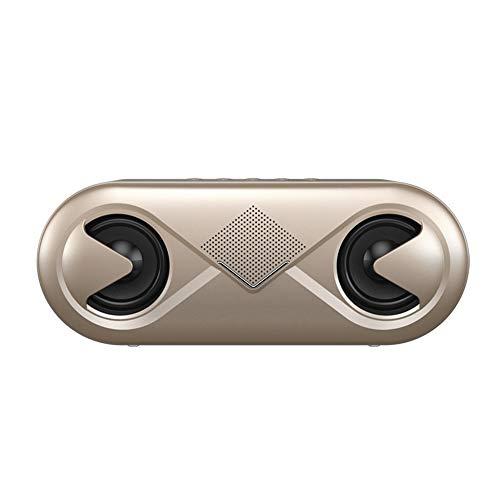 CCSHW Mini tragbare Bluetooth-Lautsprecher drahtlose Stereo-Surround-Lautsprecher großes Volumen Licht nach Hause Auto Outdoor-Sport-Subwoofer,Gold (Auto-audio-subwoofer-draht)