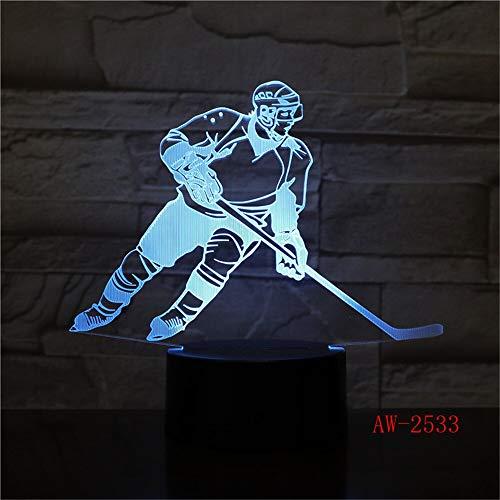 vhidfsjgdsfik Schlaf des Änderungsschlafzimmers mit 7 Farben, der Spielerzähler des Eishockey 3D beleuchtet, um Nachtlicht USB-Sportventilatorgeschenk 3 der Tischlampe LED zu Formen