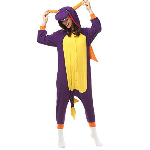 (Erwachsene Spyro the Dragon Einteiler Polar Fleece Schlafanzüge Cartoon Tier Nachtwäsche Halloween Cosplay Kostüm Unisex, Violett - Violett, XL (Höhe 5'10-6'1))