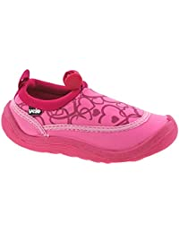 GIRLS INFANTS YELLO PINK TURQUOISE HEARTS AQUA SOCKS BEACH SHOES FW930-Pink-UK 12 (EU 30/31)