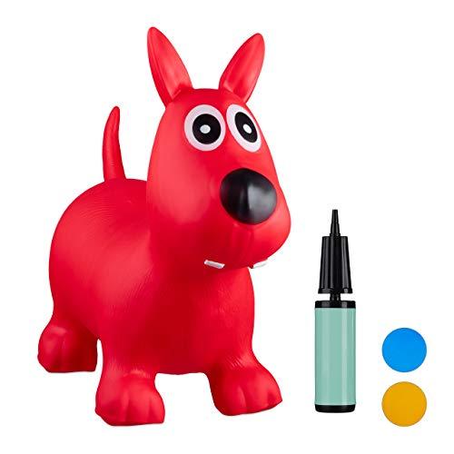 Relaxdays- Saltador Hinchable Perro para Niños hasta 50 Kg sin BPA, Plástico, Color Rojo, 50 x 26 x 60 cm (10024990_47)