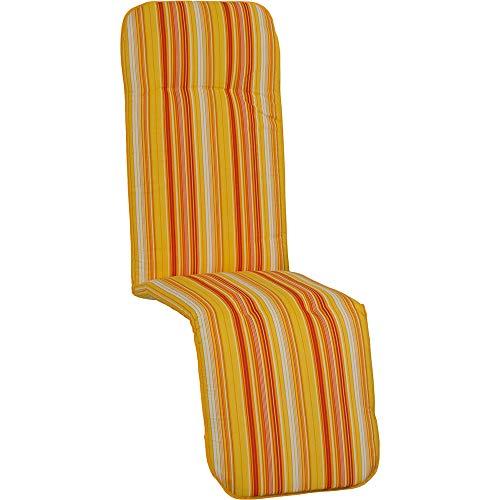 nxtbuy Auflage für Relaxliegen Capri 175x48x5cm - Liegenauflage mit Komfortschaumkern und Bezug - Sitzpolster für Gartenliegen, Dessin:Orange Stripes