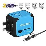 VGUARD Voyage Adaptateur International et 2 USB (5V 2.4A) Adapteur Chargeur vers Prise Anglaise pour Americaine UK AUS EU 150 Pays [Incluant Un Câble & 2 en 1 Câble Micro USB & Type C] - Bleu