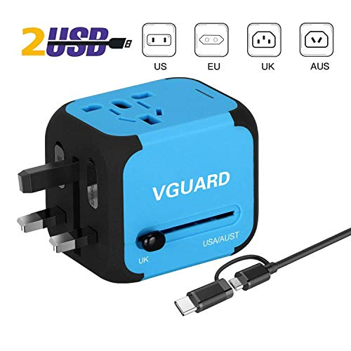 VGUARD Universellen Reiseadapter Netzteil mit Doppel USB-Ports und EU/UK/US/AU Stecker Universal Ladestecker Ladegerät Ladeadapter Travel Adapter für Weltweit 150 Ländern - Blau (Elektrische Konverter Für Irland)