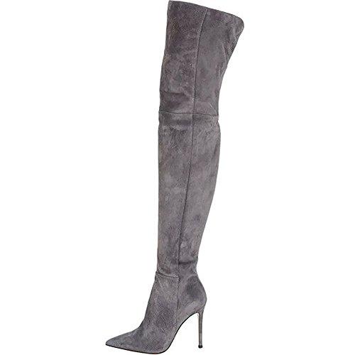 EKS Women's Pointed Toe Suede Stiletto Fashion Thigh High Boot Grey 36 CN (Womens Breite Kalb Stiefel Grau)