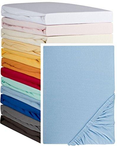Aminata – hochwertiges Spannbettlaken á 90x190 cm – 100x200 cm aus Jersey mit Rundumgummi in Hellblau Bettlaken Spannbetttuch Blau Laken Baumwolle Einzelbett