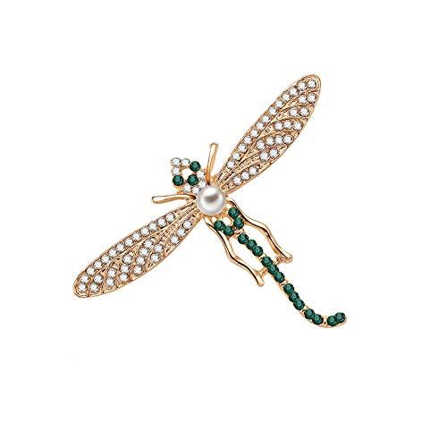 Qinlee Brosches Elegant Dragonfly Boutonniere Ansteckernadel Kleidung Zubehör Damen Mädchen Brooch Pin Schmuck für Festival Party -