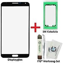 iTG® PREMIUM Juego de reparación de cristal de pantalla para Samsung Galaxy Note 3 Negro (Jet Black) - Panel táctil frontal oleofóbico para N9000 N9005 LTE + 3M Adhesivo precortado y iTG® Juego de herramientas