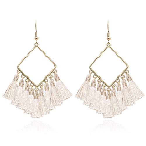 BONALUNA Damen Vintage Boho-quadratisches Metall mit Quasten baumeln Ohrringe Sahne -