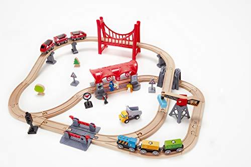 Hape-HAPE-E3730-Circuit de Train en Bois Ville animée Circuits de Voitures, E3730, Multicolore