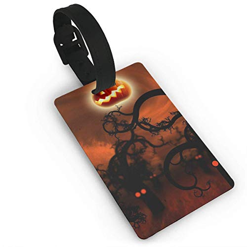 el Suitcase ID Happy Halloween Pumpkin Moon PVC Travel Luggage Tag with Strap for Baggage Bag Suitcases Business Card Holder Name ID Labels Set for Travel for Women Kids Men Set cu ()