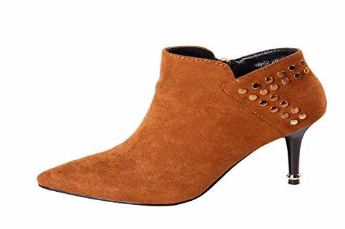 HBDLH Damenschuhe/Modische Hübscher Persönlichkeit Rivet 8Cm Hochhackigen Schuhe British Style Temperament Scharfen Stiefel Nackt Stiefel Herbst Stiefel.38 Zucker Farbe - Zucker Damen Stiefel