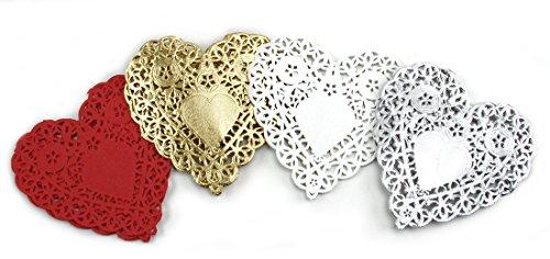 Herz Deckchen, 4-Zoll-, Weiß und Rot (Herz-deckchen)