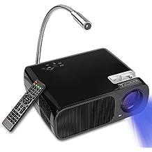 Proiettore 2600LM, YOKKAO Videoproiettore a LED Portatile 1080P con Telecomando per Casa/ Ufficio/ Teatro Cinema, Supporta VGA/ USB/ SD Scheda/ 3in1 AV/ AUX 3.5mm (Nero)