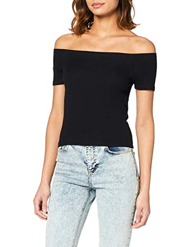 Urban Classics Damen Ladies Off Shoulder Rib Tee T-Shirt, Schwarz (black 7), Medium