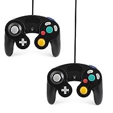 QUMOX 2x SCHWARZ WIRED CLASSIC CONTROLLER JOYPAD GAMEPAD FÜR NINTENDO GAMECUBE GC & Wii