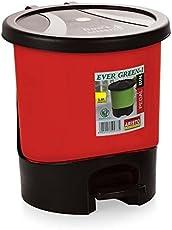 Aristo Unique Modern Plastic Pedal Dustbin 11.25 LTR (Red)