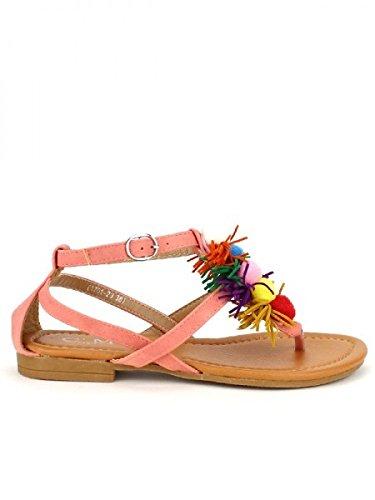 Cendriyon, Sandale Rose C'M Pompons Colors Chaussures Femme Rose