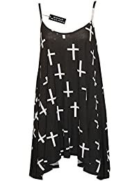 NEW WOMENS LADIES PLUS SIZE CAMI STRAPPY SLEEVELESS PRINT LONG SWING DRESS VEST TOPS DRESSES 12-30