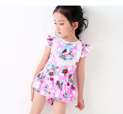 HJXJXJX Kinder Badeanzug Kirsch Druck Muster 100% Polyester Material hohen  Elastizität Mädchen Kleid Badeanzug Pink